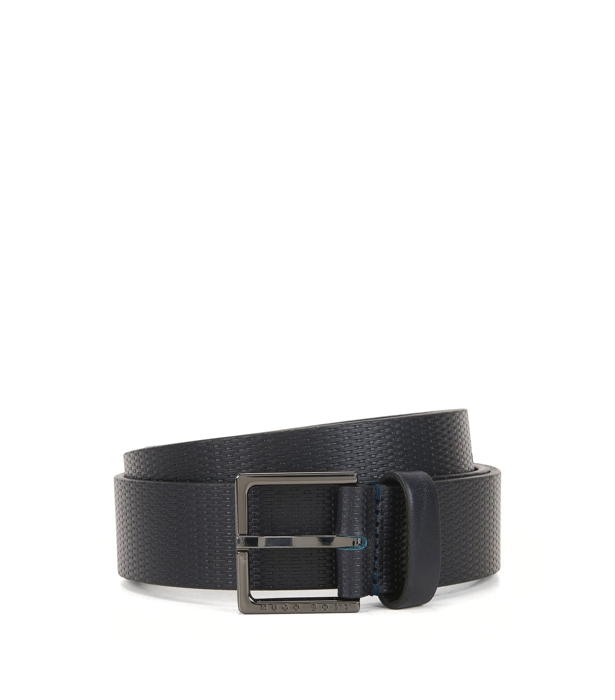 Embossed Leather Belt | Cermes, Dark Blue