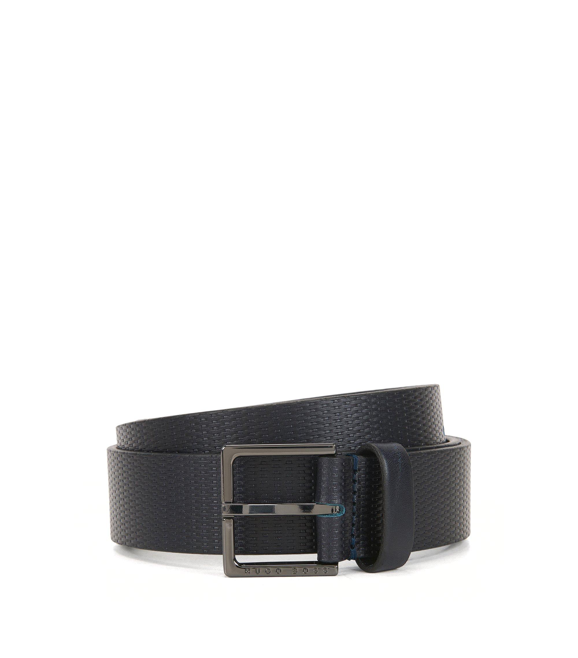 Embossed Leather Belt | Cermes, Dark Blue