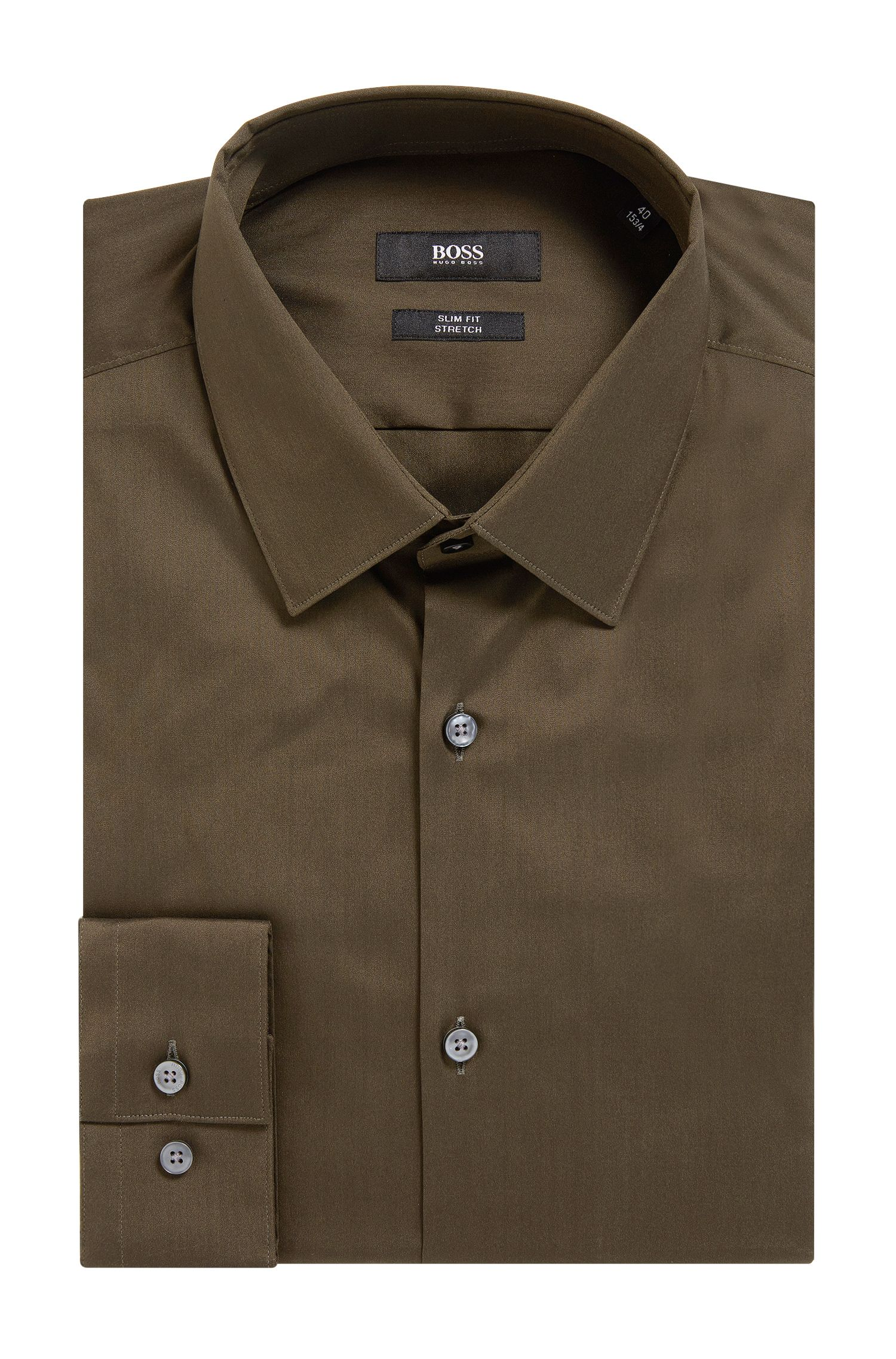 Stretch Cotton Dress Shirt, Slim Fit | Isko, Open Green