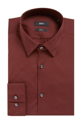 Stretch Cotton Dress Shirt, Slim Fit | Isko, Dark Red