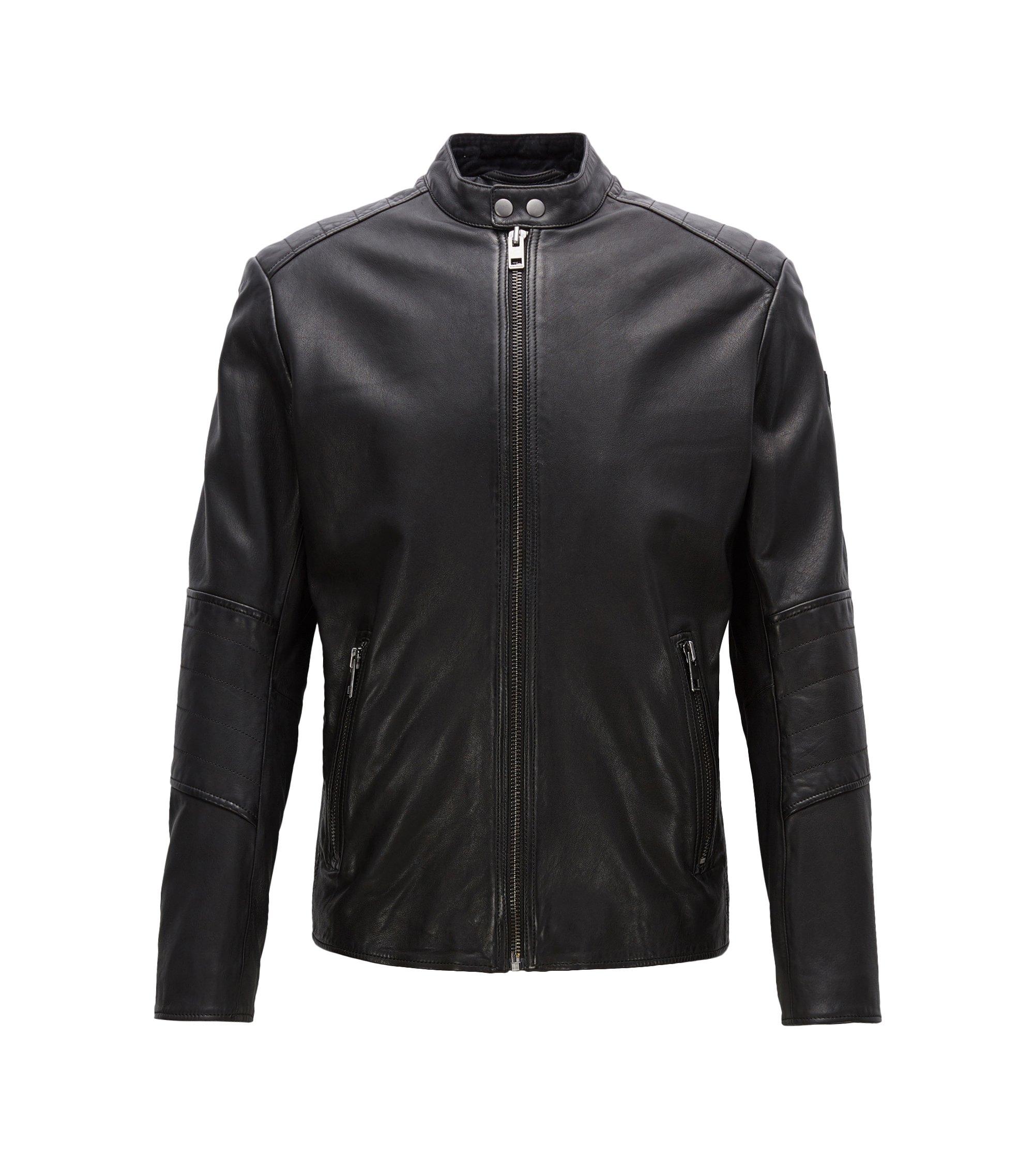 Sheepskin Biker Jacket | Jeeper, Black
