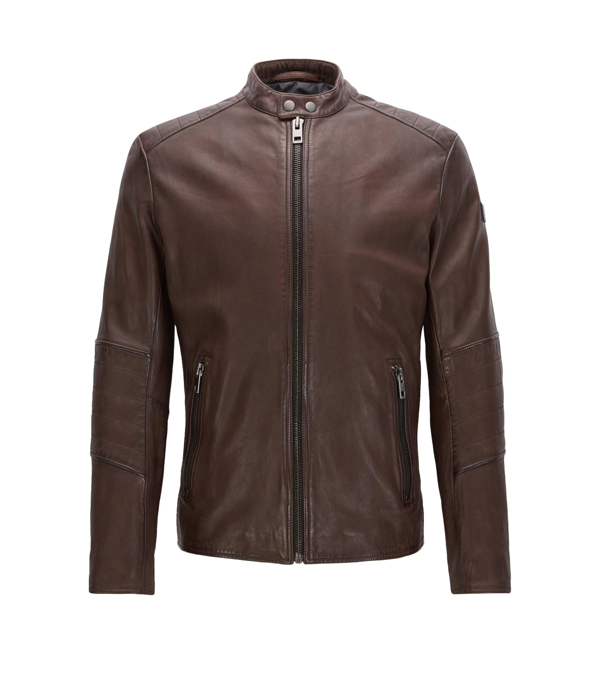Sheepskin Biker Jacket   Jeeper, Dark Brown