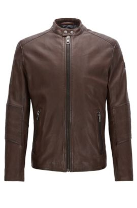 Sheepskin Biker Jacket | Jeeper, Dark Brown
