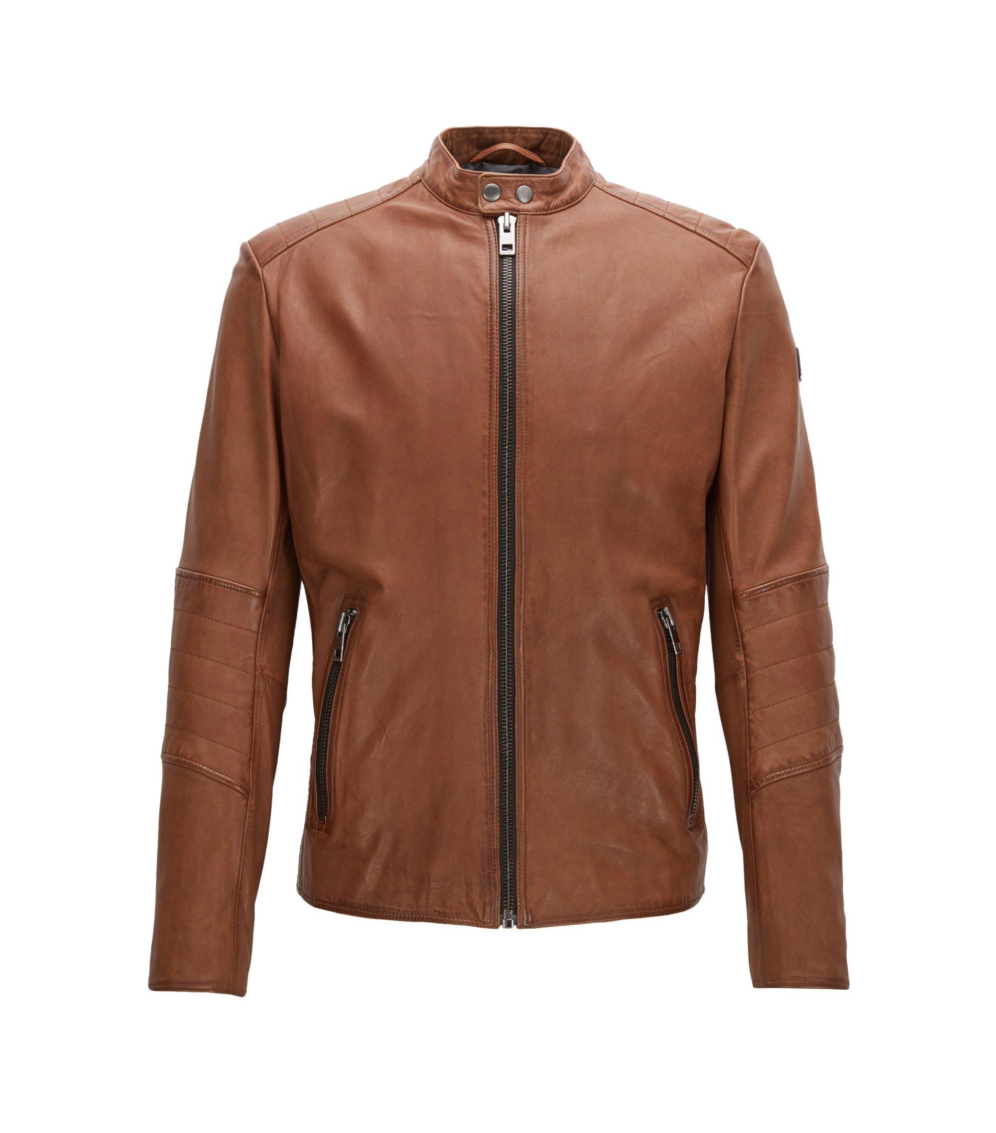 Sheepskin Biker Jacket | Jeeper, Open brown