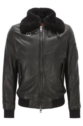 'Jarco' | Lambskin Aviator Jacket, Black