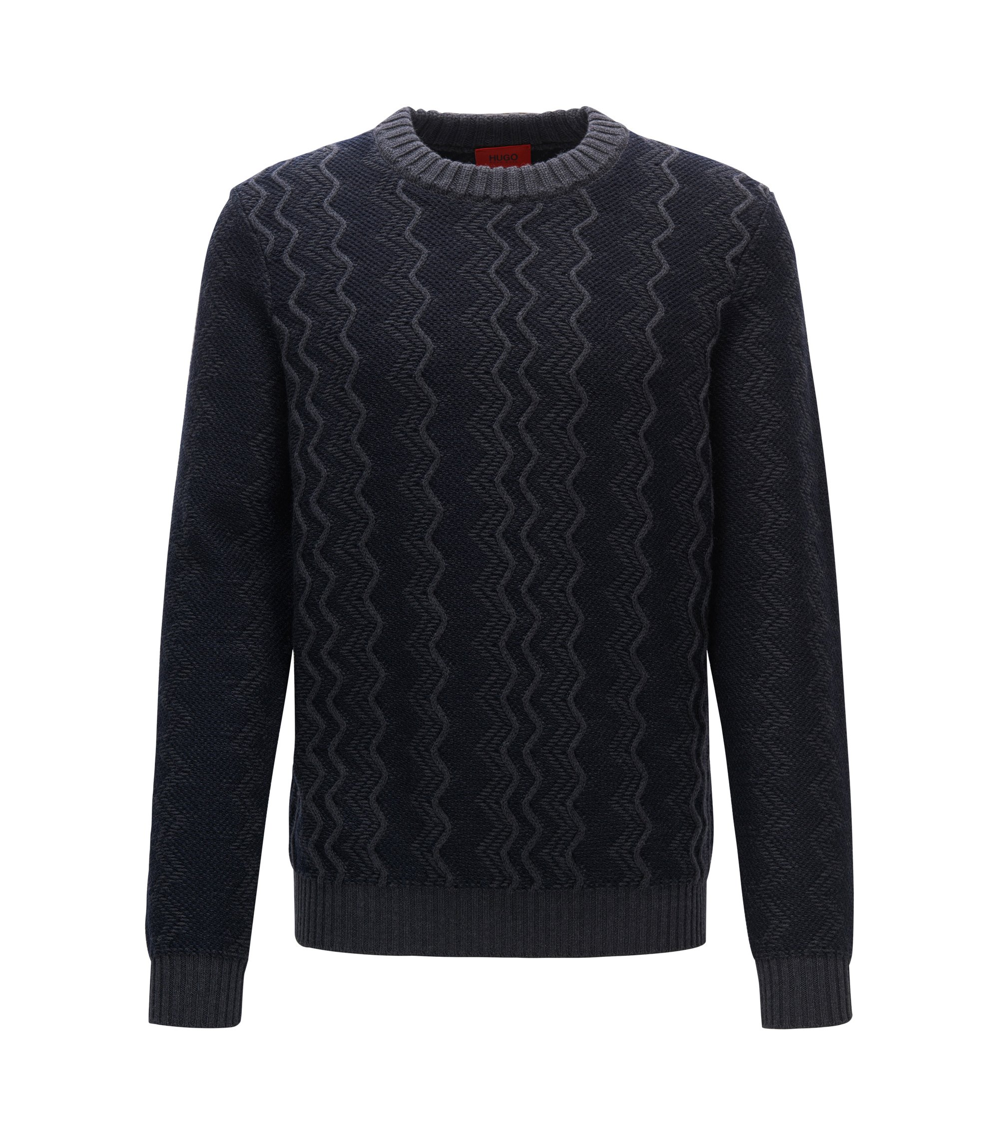 Zig Zag Virgin Wool Sweater | Sigsag, Dark Blue
