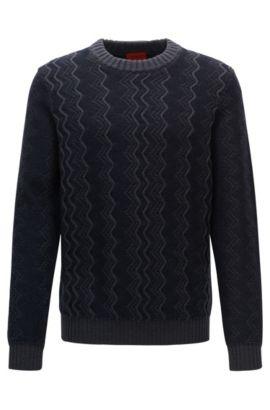 Zig Zag Virgin Wool Sweater | Sigsag, Dark Blue