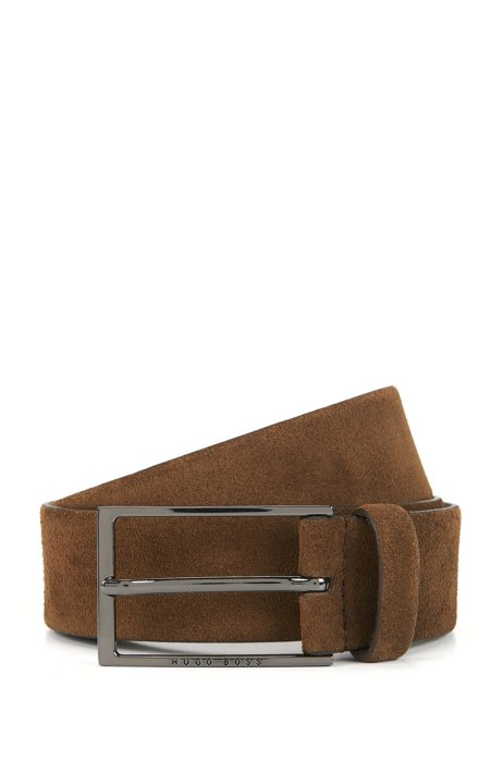 9594c8a4b9c Soft suede leather belt with polished gunmetal pin buckle, Brown