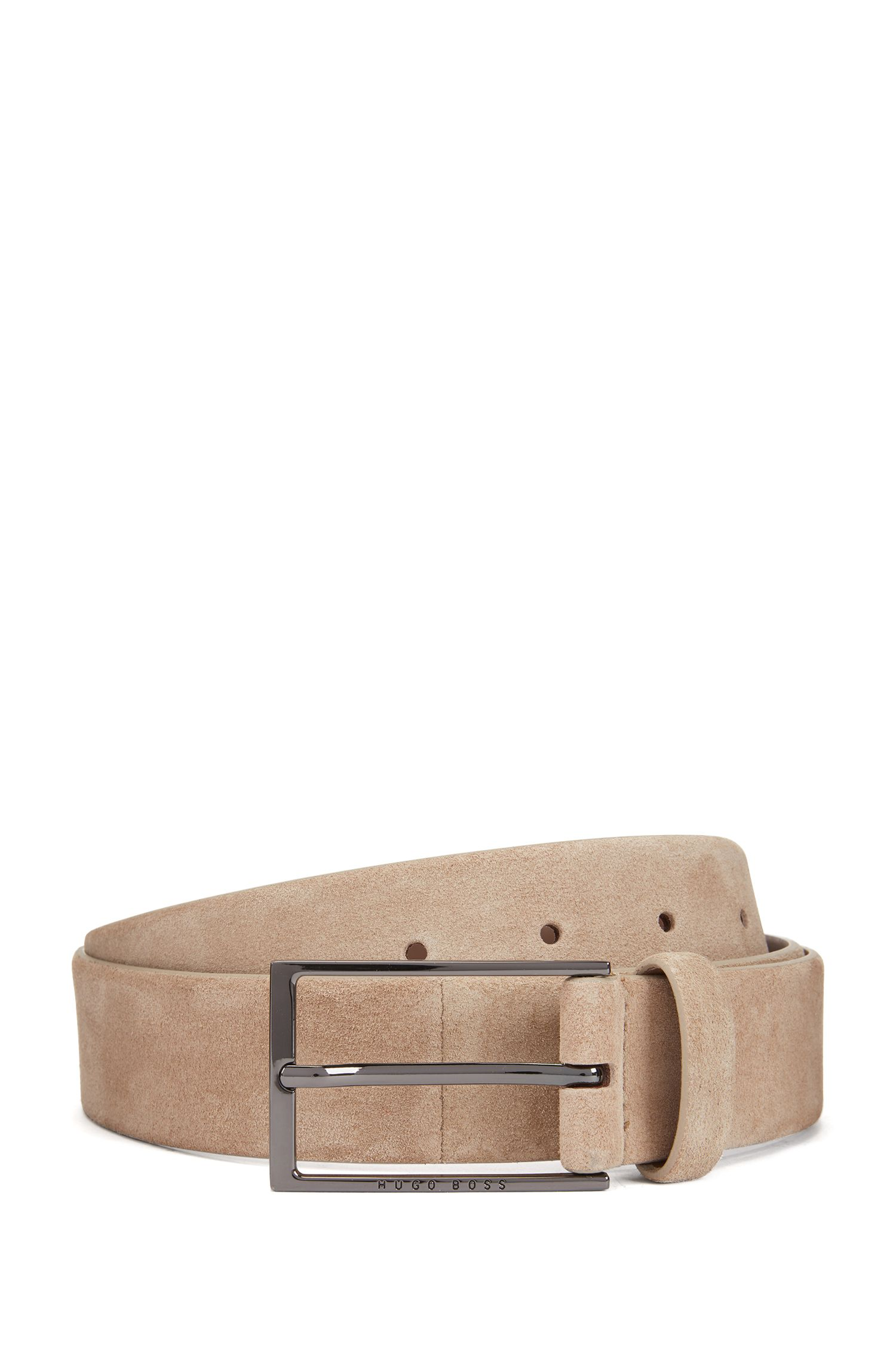 Soft suede leather belt with polished gunmetal pin buckle, Light Beige