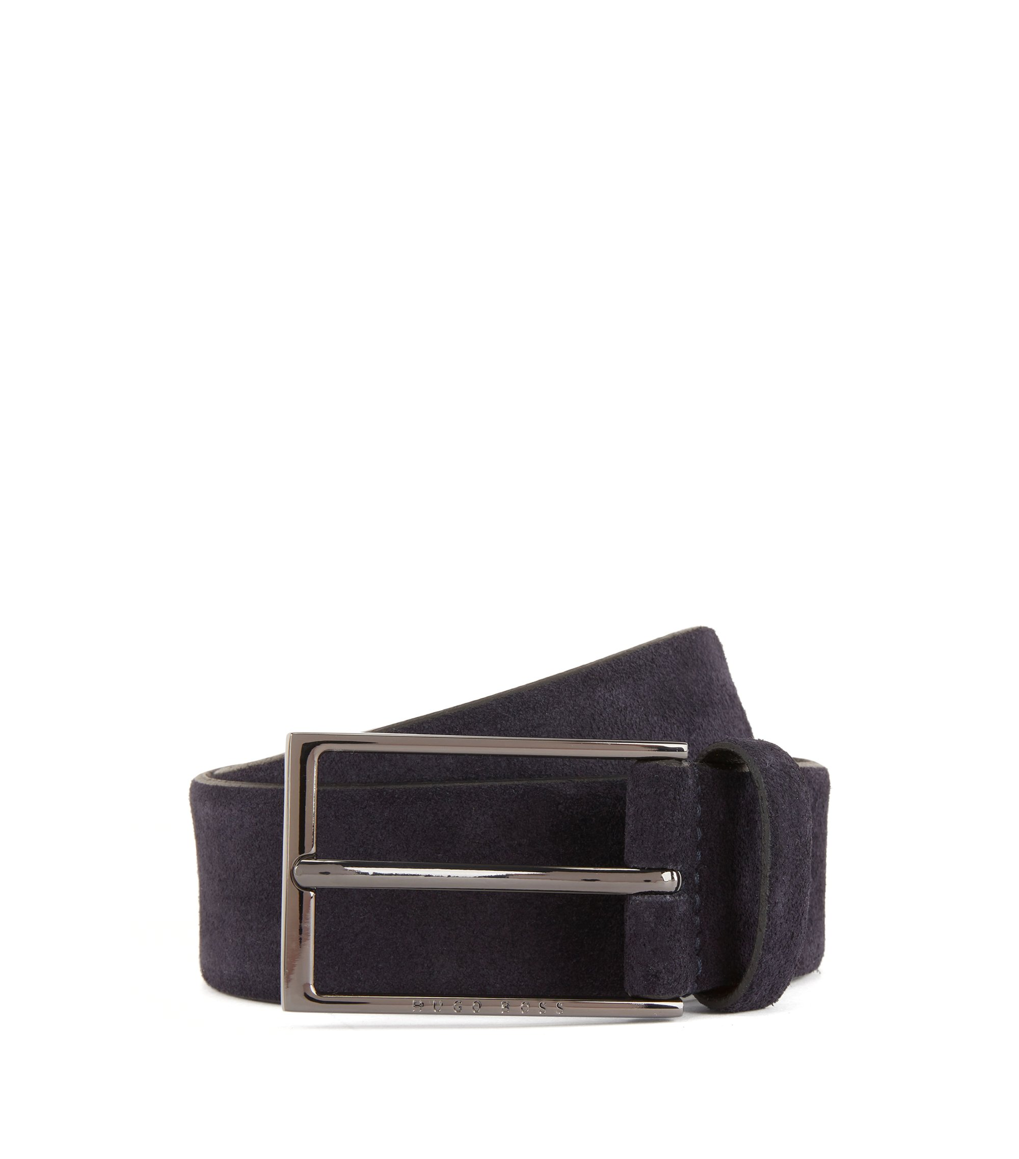 Soft suede leather belt with polished gunmetal pin buckle, Dark Blue