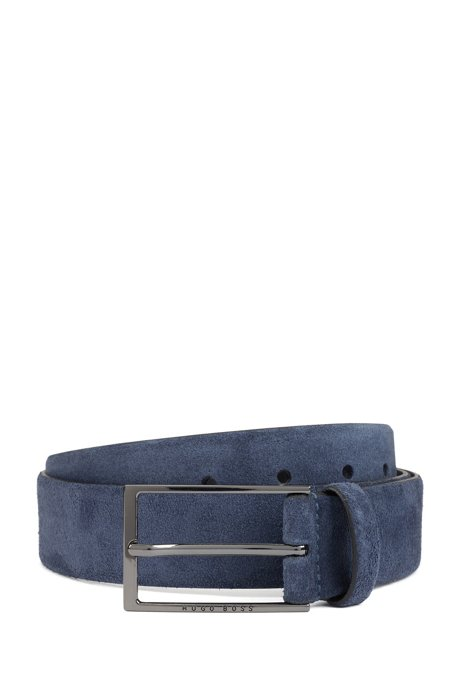 Soft suede leather belt with polished gunmetal pin buckle, Blue