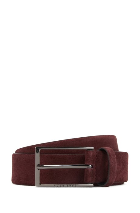 Soft suede leather belt with polished gunmetal pin buckle, Dark Red