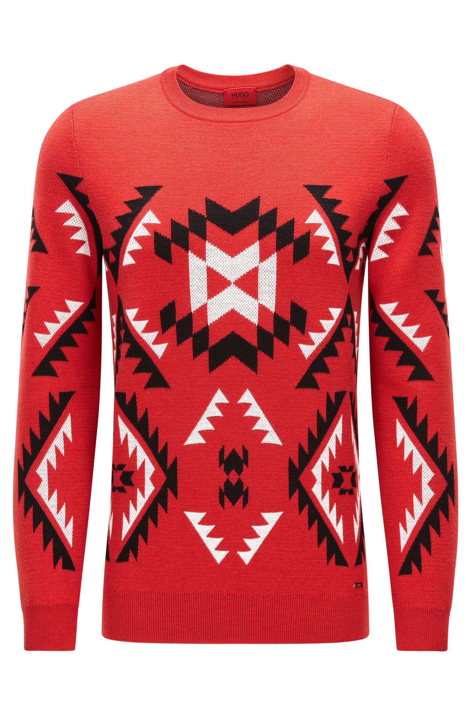 'Smaxi' | Geometric Print Virgin Wool Sweater