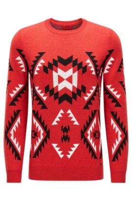 'Smaxi' | Geometric Print Virgin Wool Sweater, Red