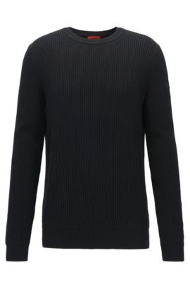 Virgin Wool Cotton Sweater | Somael, Black