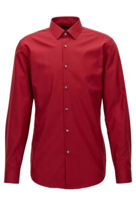 Easy Iron Cotton Dress Shirt, Slim Fit | Isko, Red