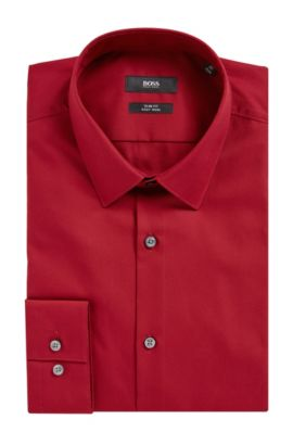 Easy Iron Cotton Dress Shirt, Slim Fit | Isko, Red