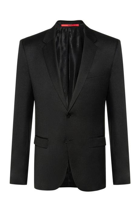 Veste Extra Slim Fit en laine vierge tisséeteinte, Noir