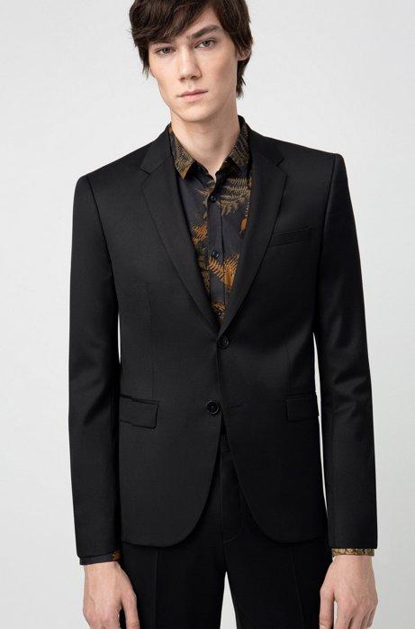 Extra-slim-fit jacket in yarn-dyed virgin wool, Black