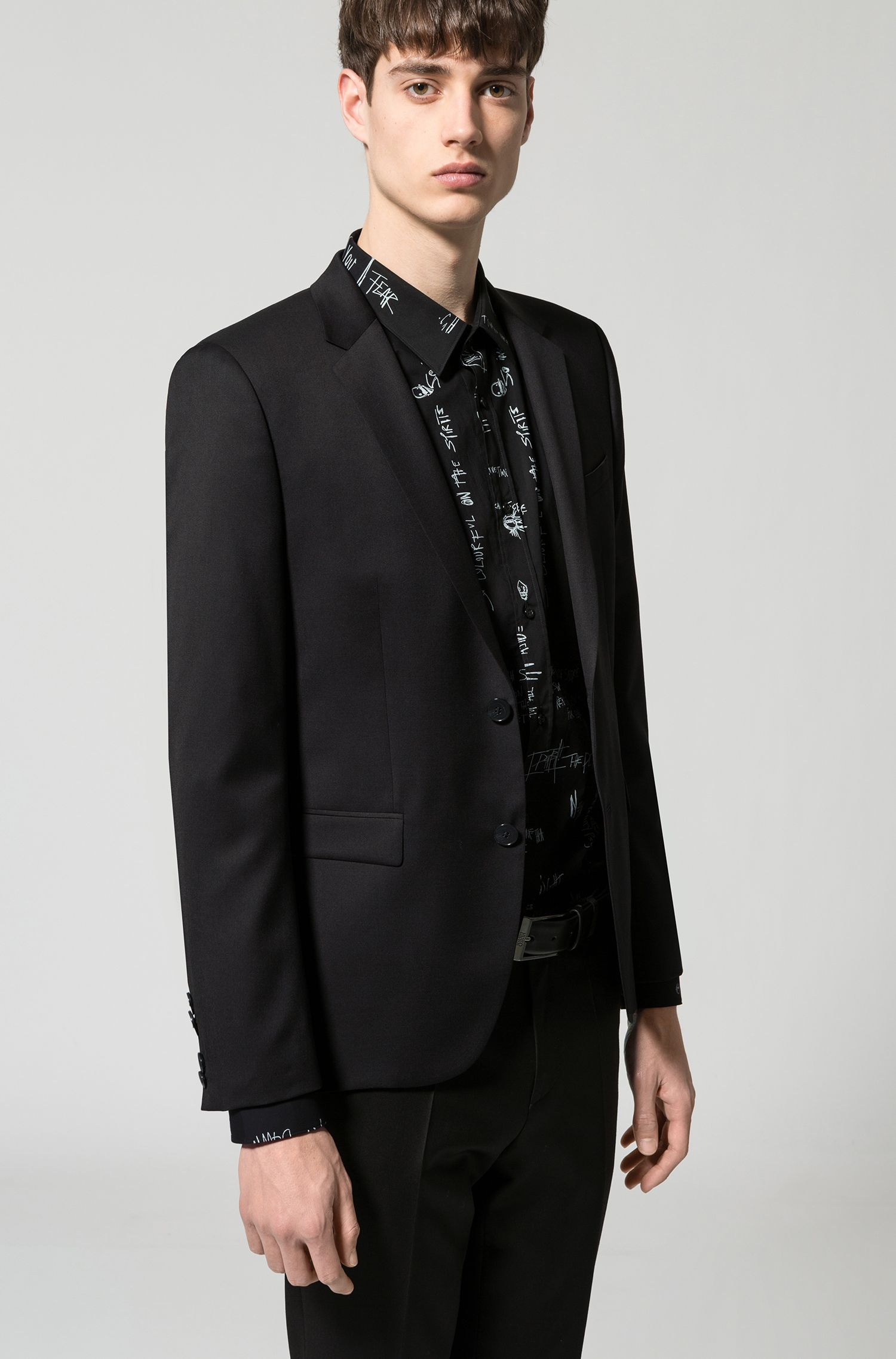 Extra-slim-fit jacket in yarn-dyed virgin wool, Black