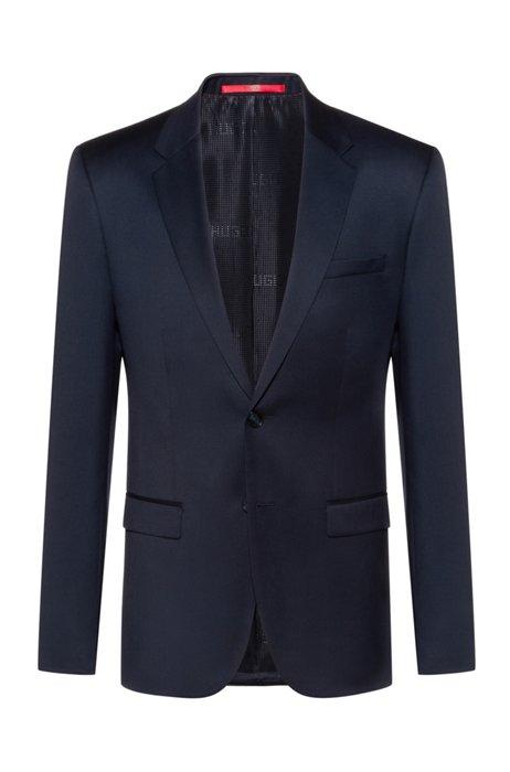 Veste Extra Slim Fit en laine vierge tisséeteinte, Bleu foncé