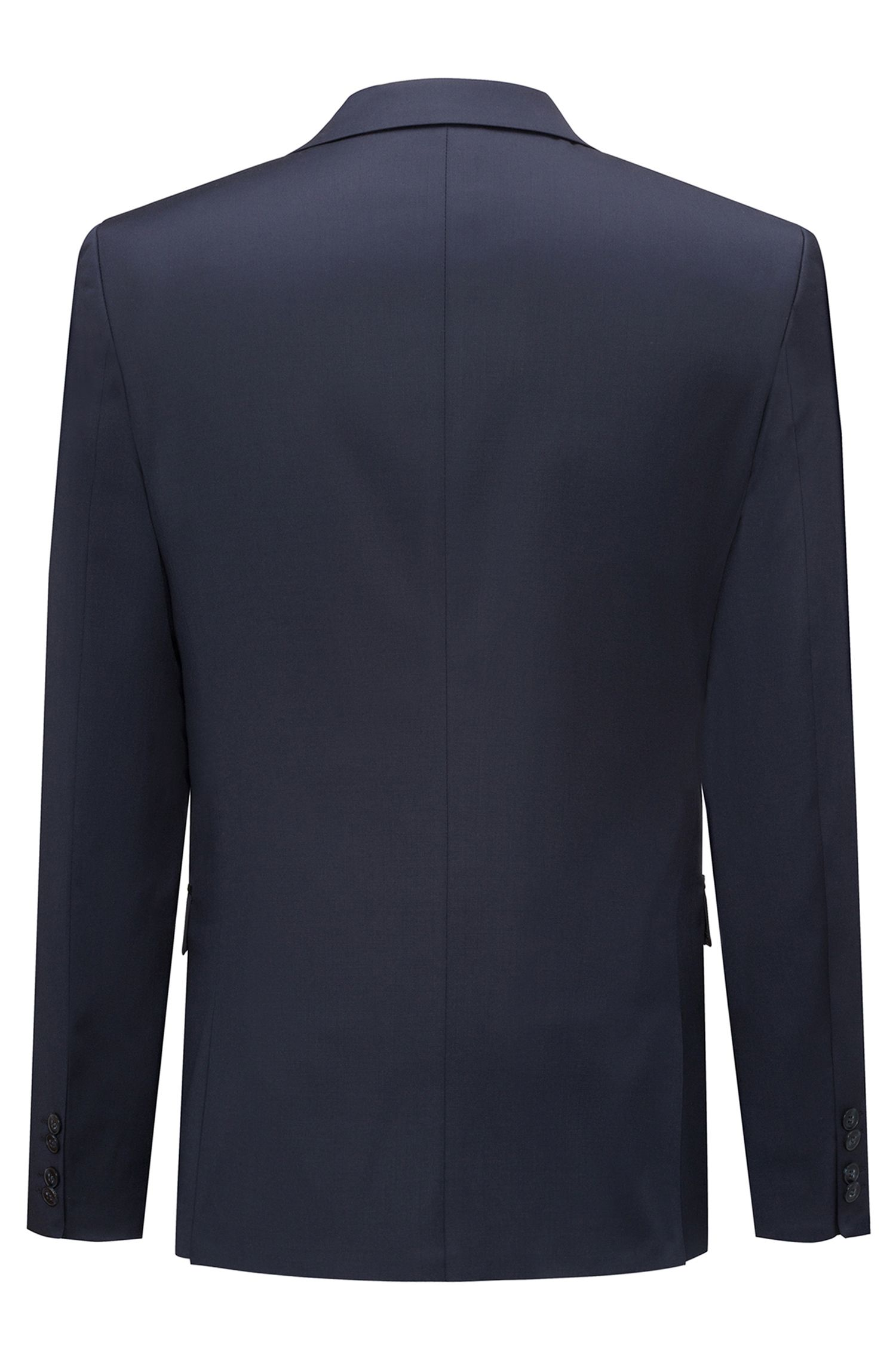 Extra-slim-fit jacket in yarn-dyed virgin wool, Dark Blue