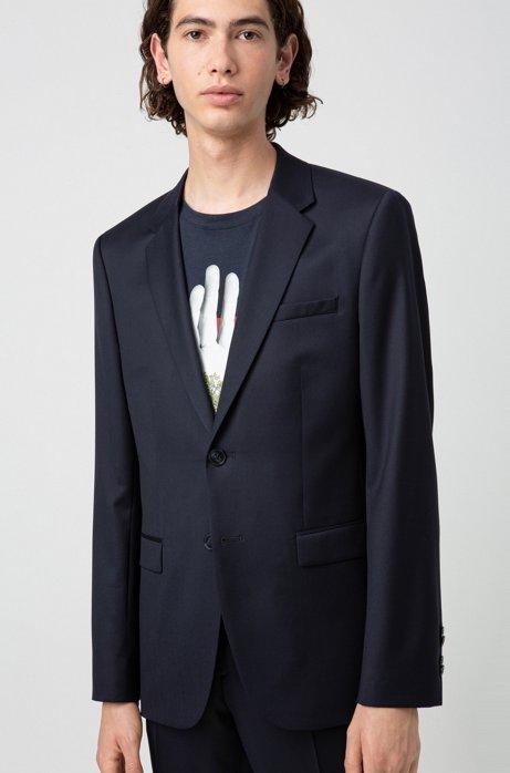 Extra-slim-fit jacket in yarn-dyed virgin wool, Dark Blue