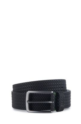 'Terio Sz Nuem' | Leather Belt, Black