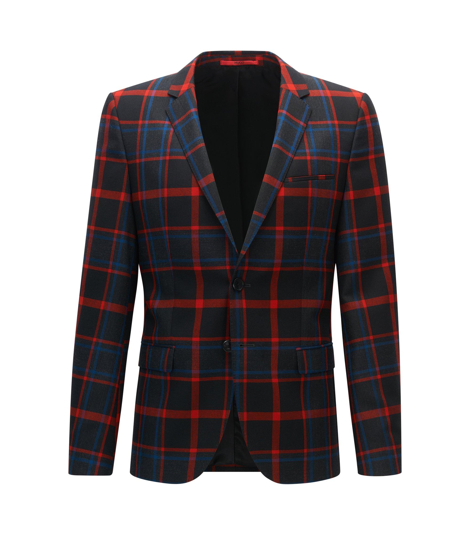 Plaid Virgin Wool Sport Coat, Extra Slim Fit | Arti, Patterned