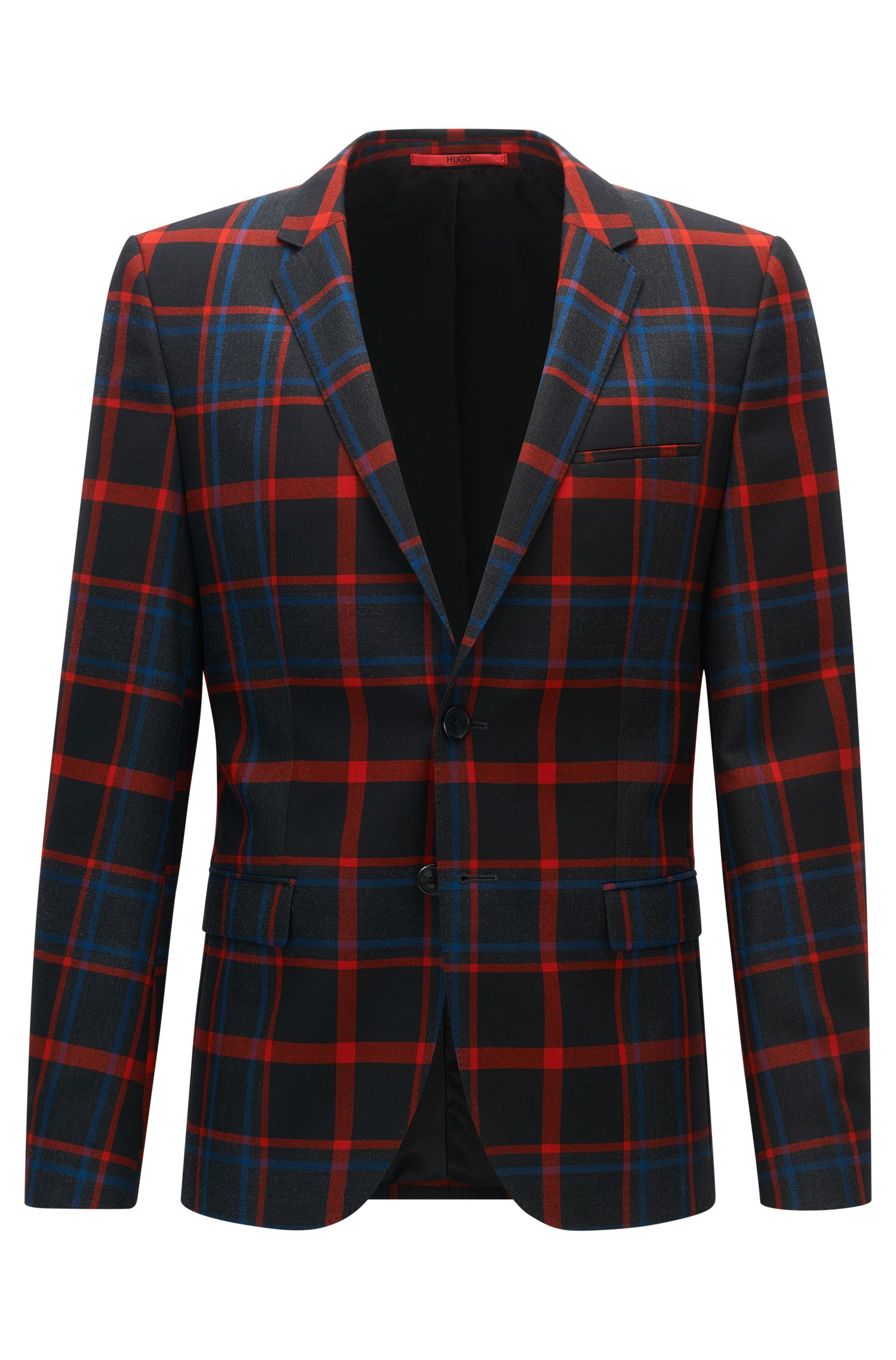 Plaid Virgin Wool Sport Coat, Extra Slim Fit | Arti