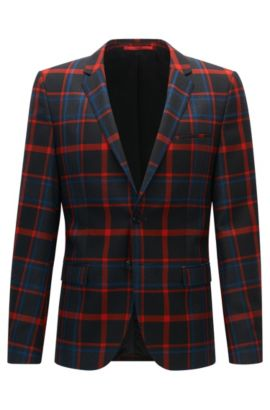 Plaid Virgin Wool Sport Coat, Extra Slim Fit | Arti, Patterned