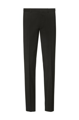 Extra-slim-fit pants in virgin-wool stretch poplin, Black