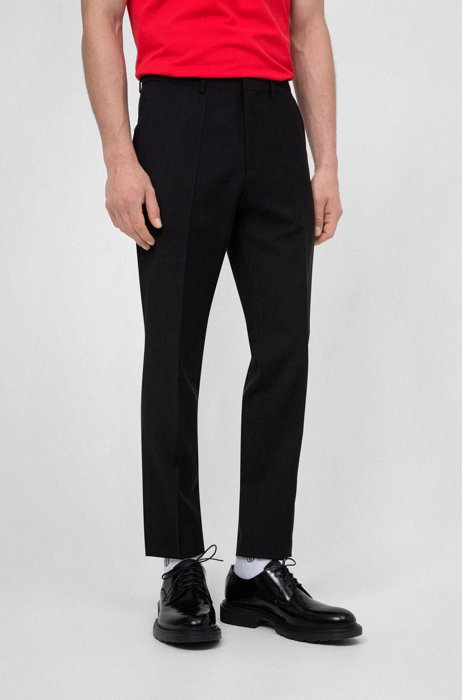 Extra-slim-fit pants in virgin-wool stretch poplin, Black