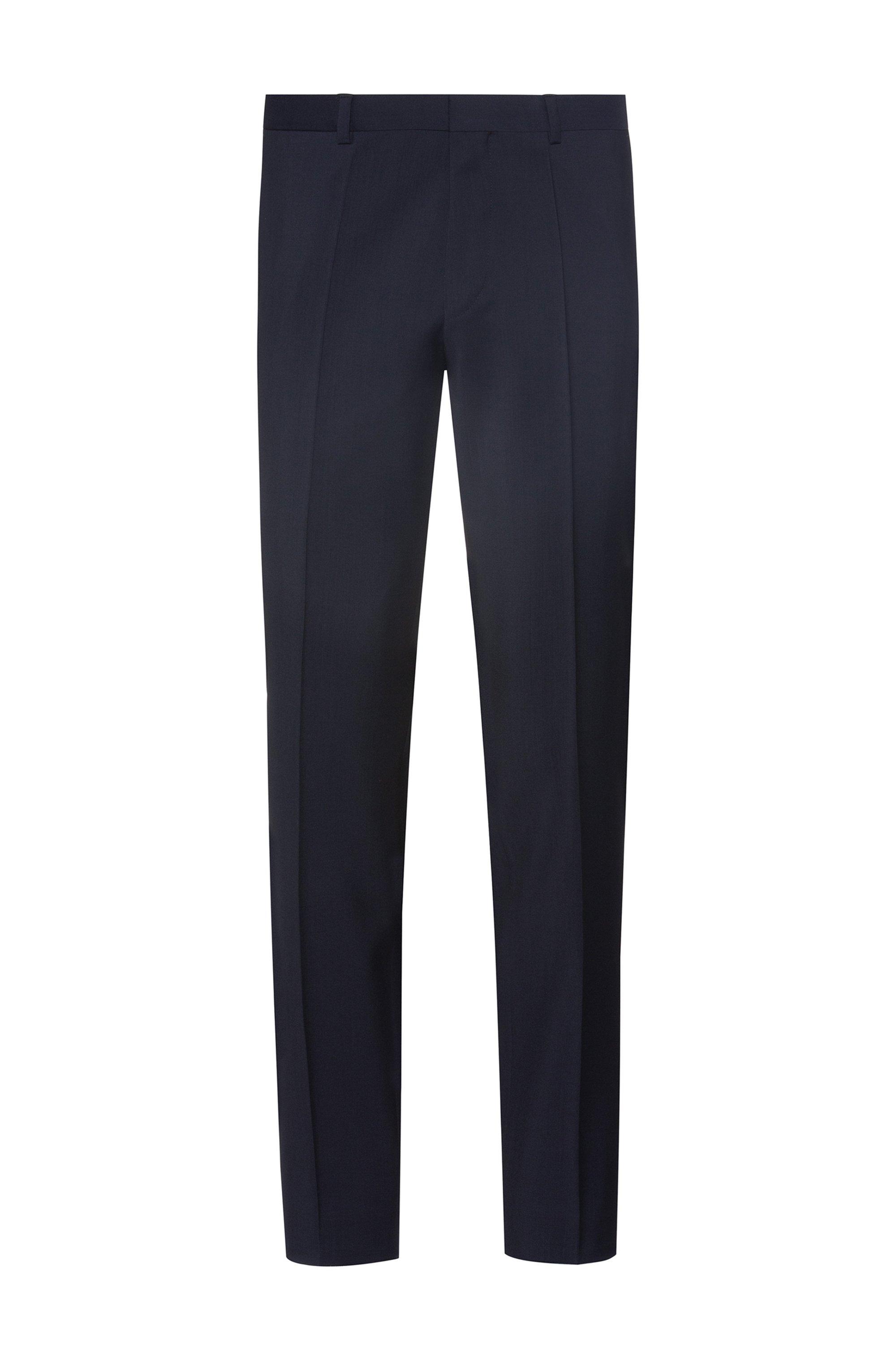 Extra-slim-fit pants in virgin-wool stretch poplin, Dark Blue