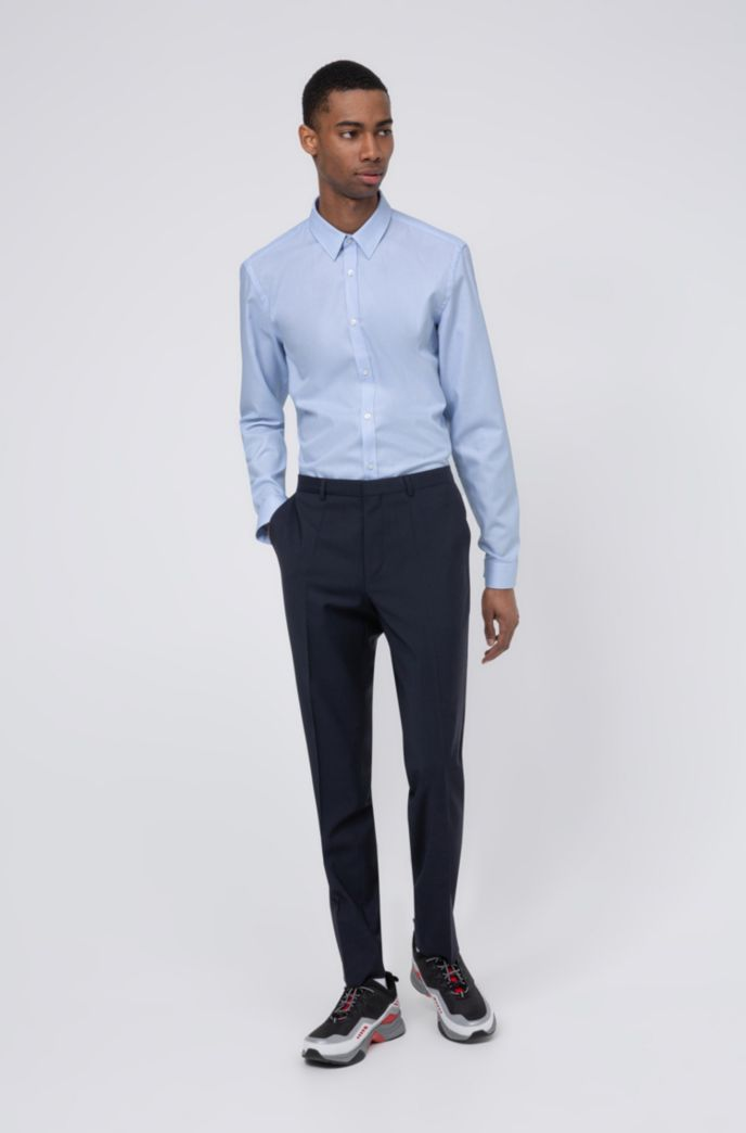 Extra-slim-fit pants in virgin-wool stretch poplin