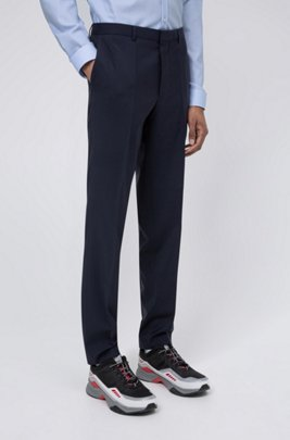Extra-slim-fit pants in virgin-wool stretch poplin, Dark Blue