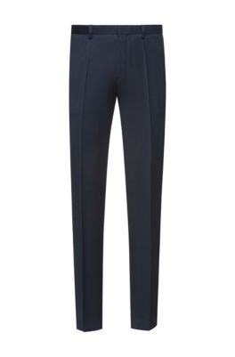 Extra-slim-fit pants in pigment-dyed virgin wool, Dark Blue