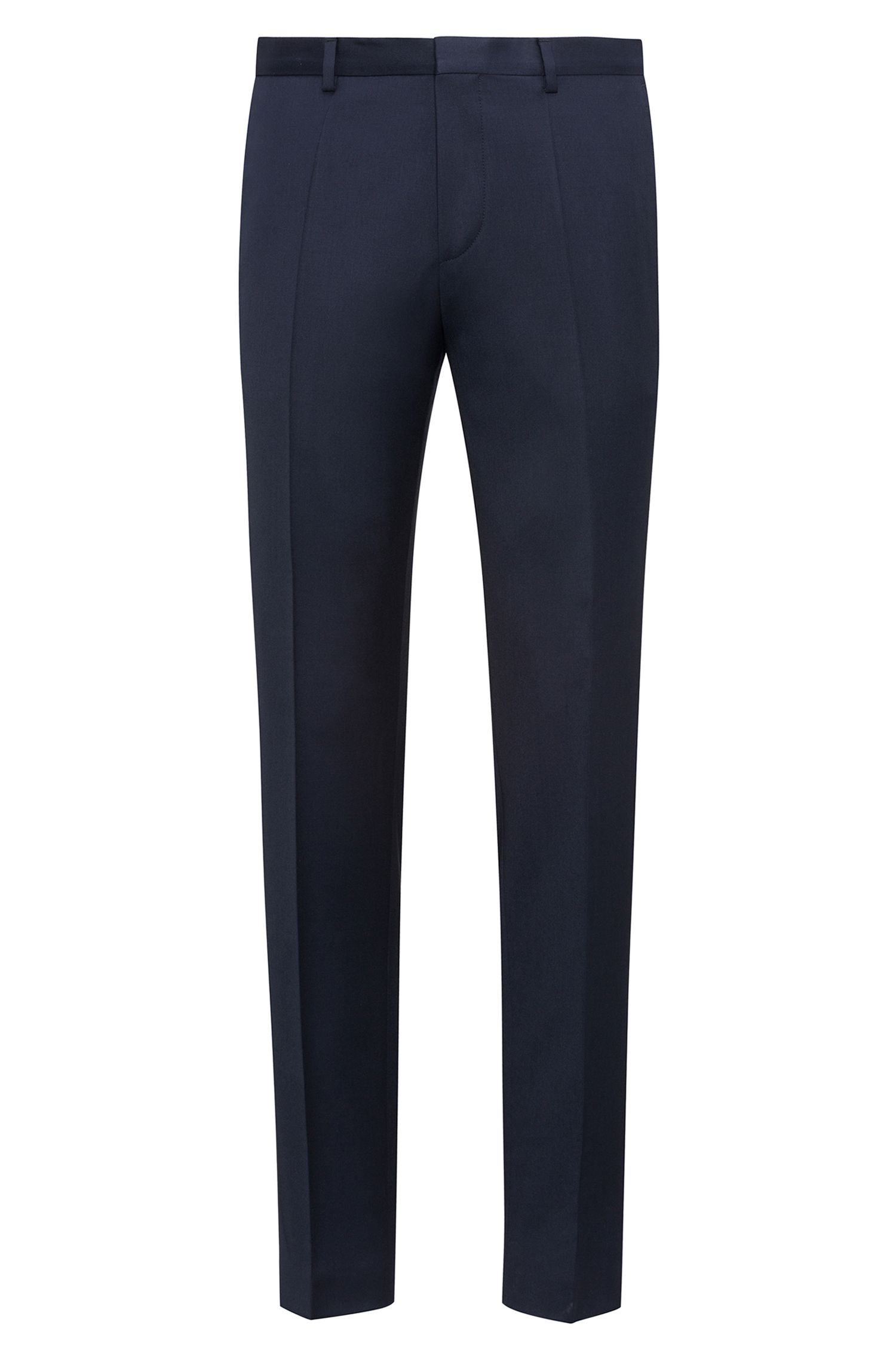 Extra-slim-fit trousers in pigment-dyed virgin wool, Dark Blue
