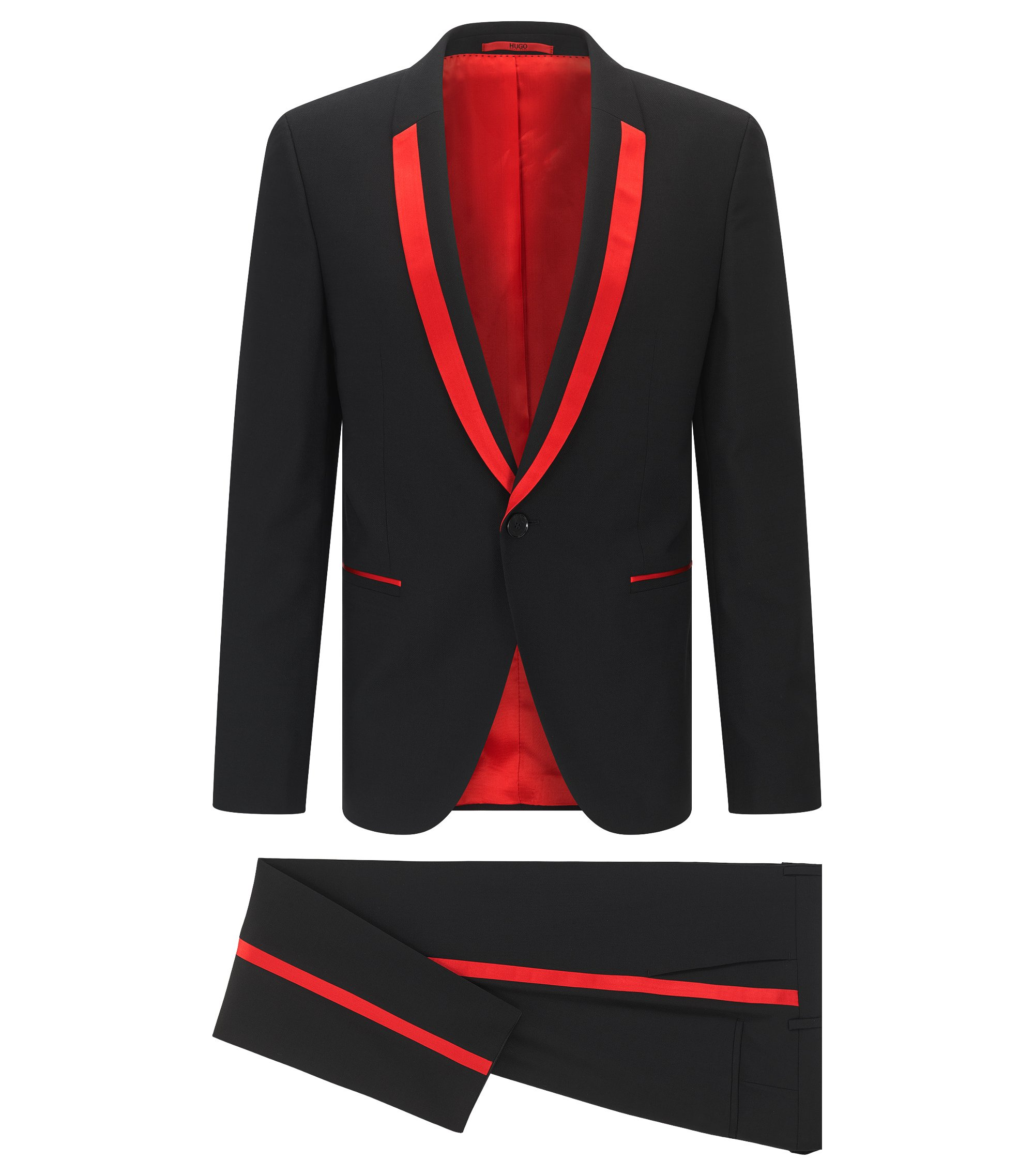 Virgin Wool Suit, Extra Slim Fit | Alford/Hylor, Black