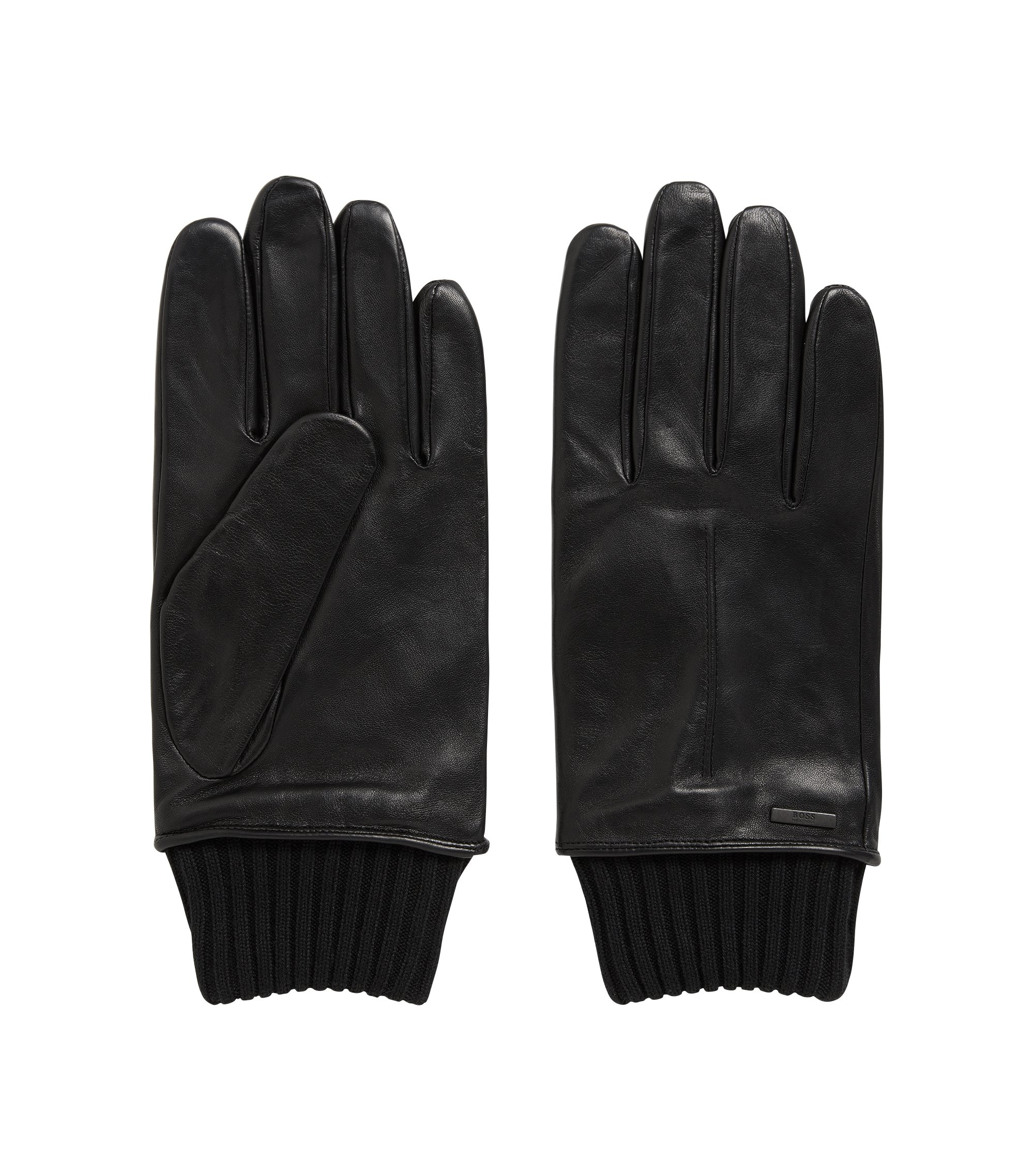Lambskin Leather & Wool Blend Knit Glove | Harmyn WS, Black