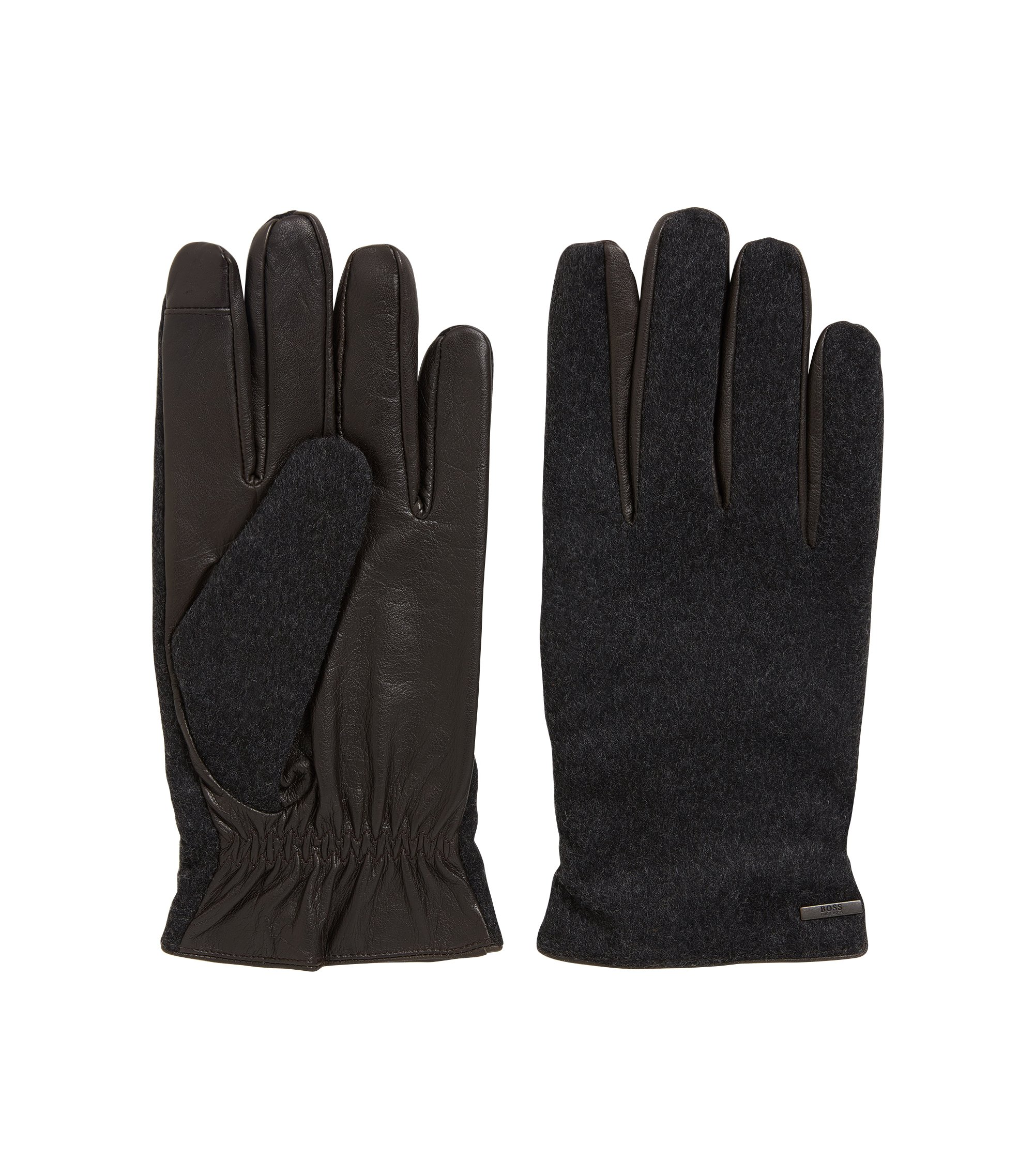 Leather & Wool Blend Knit Glove | Hebold TT, Dark Brown
