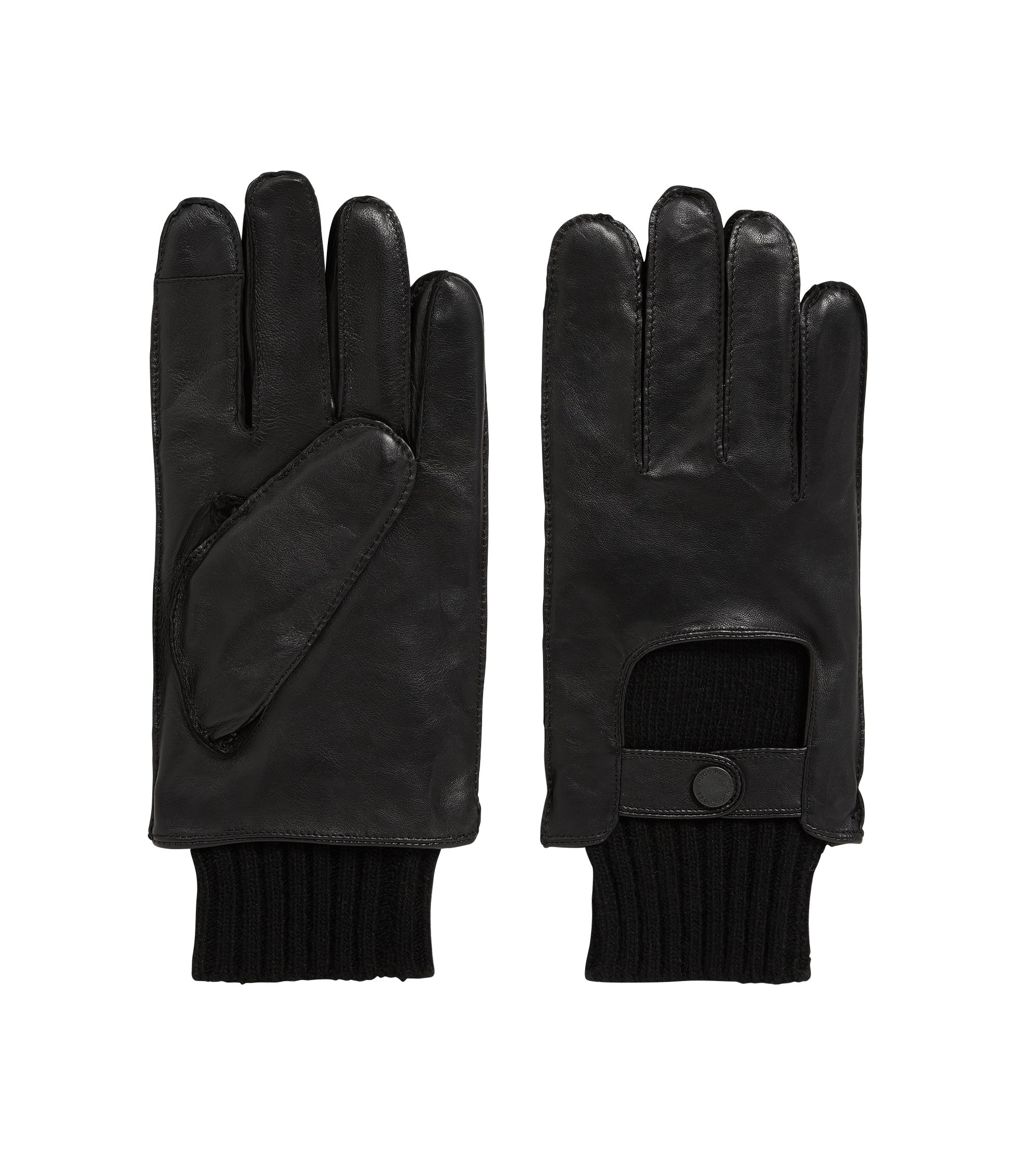 Nappa Leather & Wool Blend Knit Tech Touch Glove | T-Herkan TT, Black
