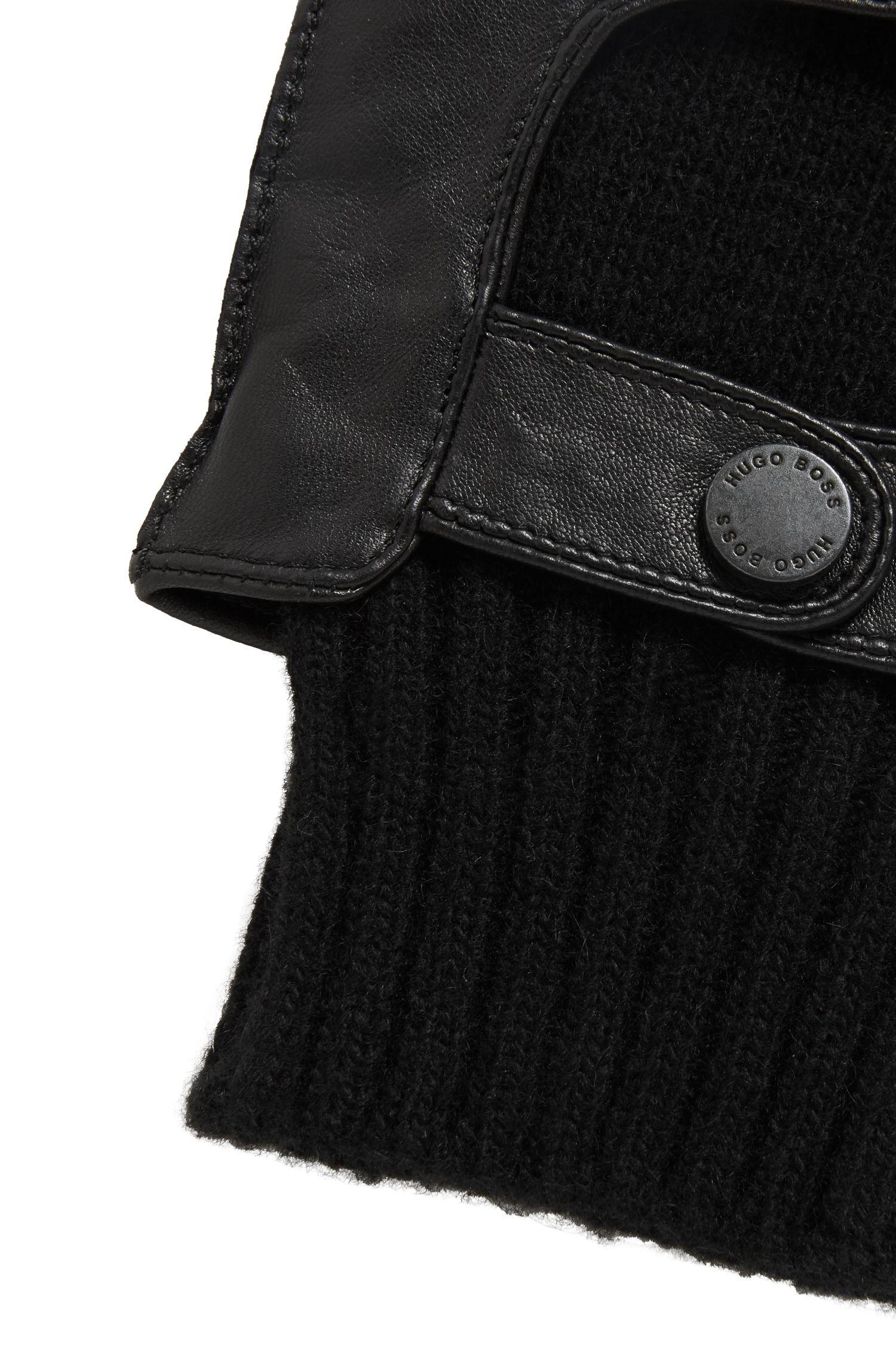 Nappa Leather & Wool Blend Knit Tech Touch Glove | T-Herkan TT, Black