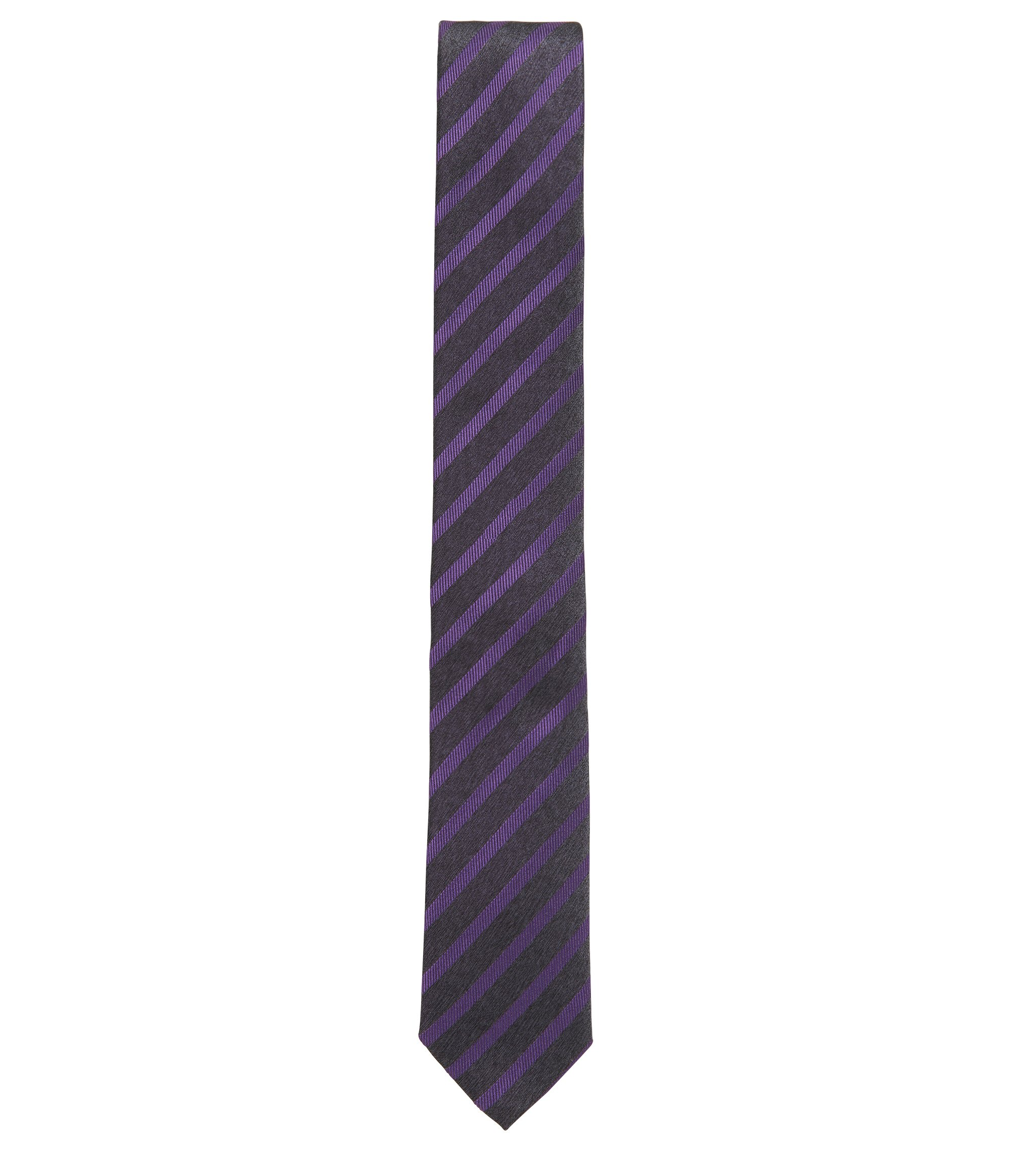 Striped Slim Italian Silk Tie, Purple