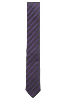 Striped Silk Tie, Slim | Tie 6 cm, Purple