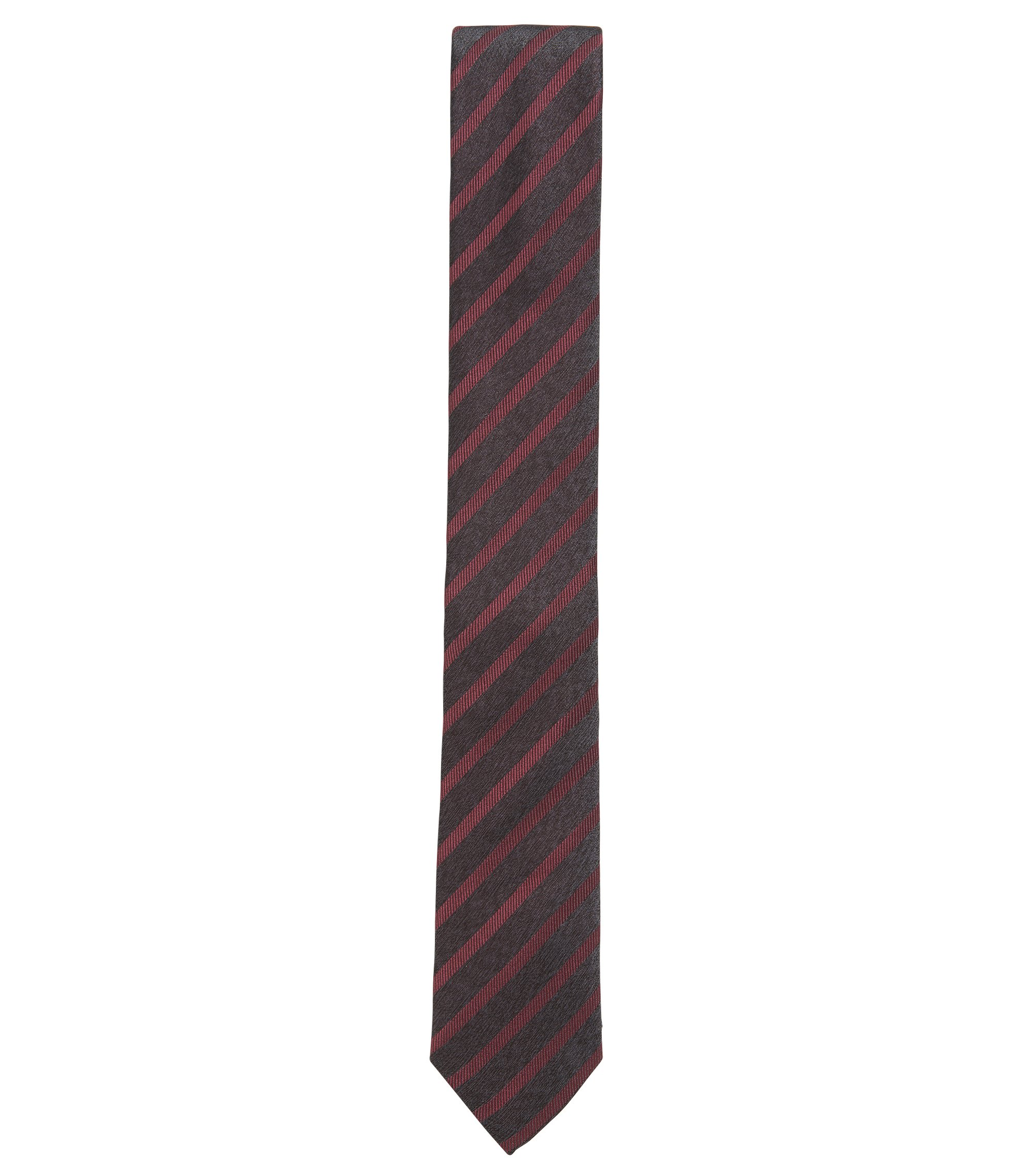 Striped Slim Italian Silk Tie, Red