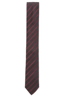 Striped Silk Tie, Slim | Tie 6 cm, Red