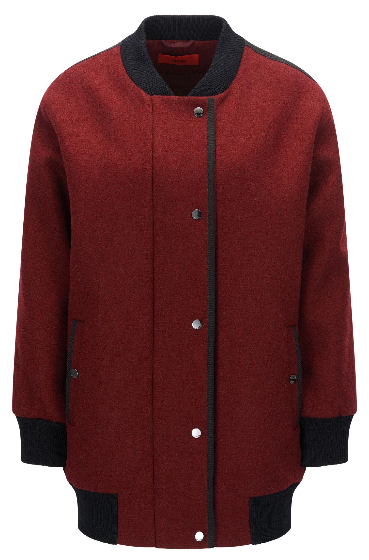 Wool Blend Long Varsity Jacket | Fipani, Dark Red