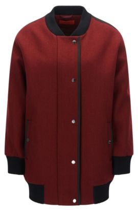 Wool Blend Long Varsity Jacket | Fipani, Dark Red