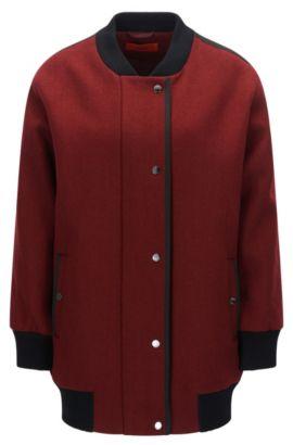 'Fipani' | Wool Blend Long Varsity Jacket, Dark Red